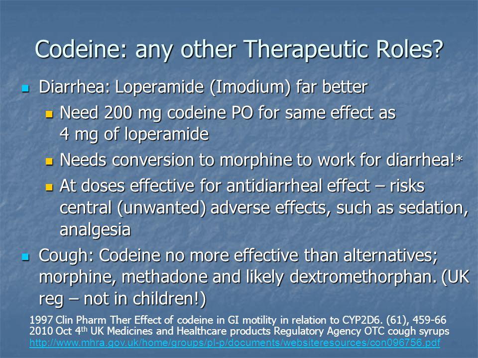 Codeine: any other Therapeutic Roles? Diarrhea: Loperamide (Imodium) far better Diarrhea: Loperamide (Imodium) far better Need 200 mg codeine PO for s