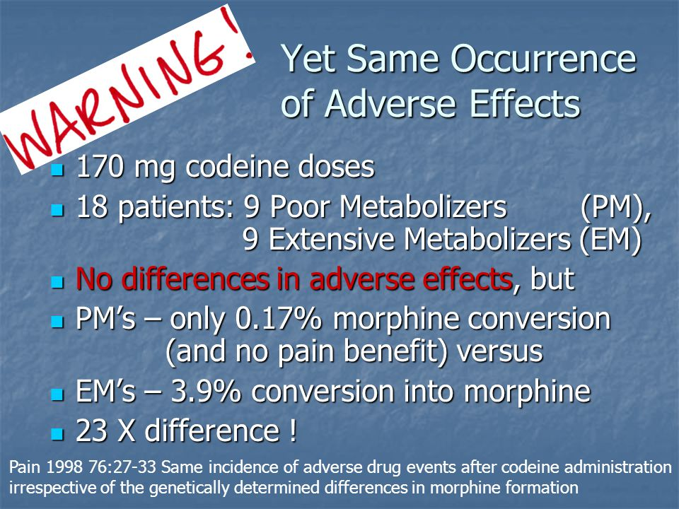 Dosing, Use, Practicalities Overview Precise relative analgesic significance of metabolites uncertain Precise relative analgesic significance of metabolites uncertain Codeine converts into 1, 2 possibly 3 active ingredients (all acting on mu receptor), (competing too?) Codeine converts into 1, 2 possibly 3 active ingredients (all acting on mu receptor), (competing too?) Morphine - Amount normally converted into morphine reported from 3.9 to 10% Morphine - Amount normally converted into morphine reported from 3.9 to 10% Codeine-6-Glucuronide Codeine-6-Glucuronide Norcodeine Norcodeine Ensure with adverse drug assessments that people know that codeine metabolizes into morphine – ask about history of reaction to each drug Ensure with adverse drug assessments that people know that codeine metabolizes into morphine – ask about history of reaction to each drug http://www.pharmgkb.org/do/serve?objId=PA146123006&objCls=Pathway Slide created by Bruce Kennedy, Palliative Care Pharmacist, bruce.kennedy@fraserhealth.ca