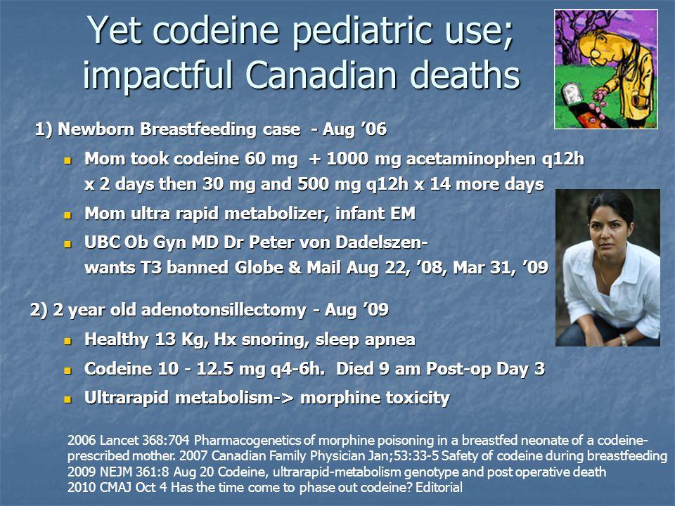 Yet codeine pediatric use; impactful Canadian deaths 1) Newborn Breastfeeding case - Aug '06 1) Newborn Breastfeeding case - Aug '06 Mom took codeine
