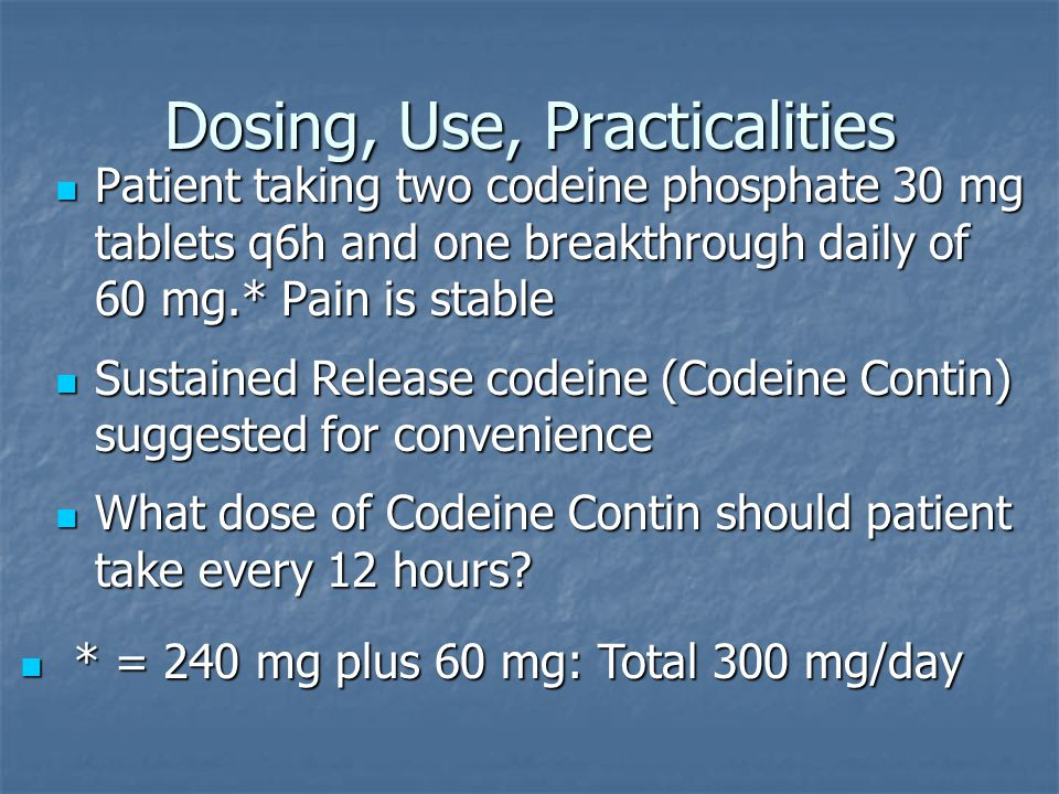 Dosing, Use, Practicalities Patient taking two codeine phosphate 30 mg tablets q6h and one breakthrough daily of 60 mg.* Pain is stable Patient taking