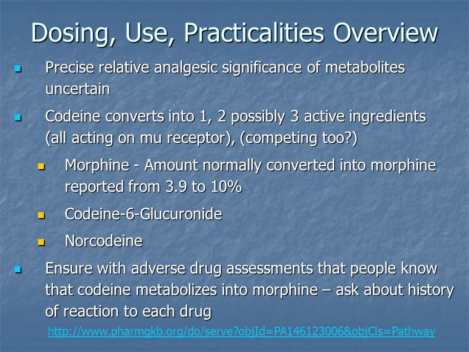 Dosing, Use, Practicalities Overview Precise relative analgesic significance of metabolites uncertain Precise relative analgesic significance of metab
