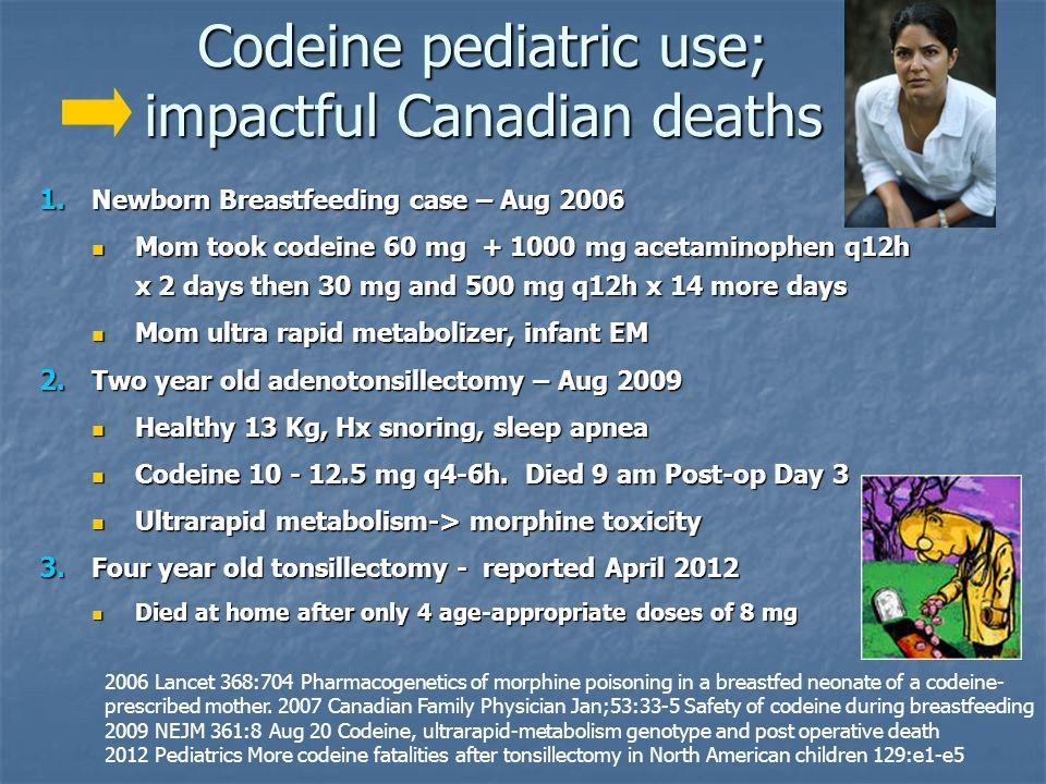 Codeine pediatric use; impactful Canadian deaths 1. Newborn Breastfeeding case – Aug 2006 Mom took codeine 60 mg + 1000 mg acetaminophen q12h x 2 days