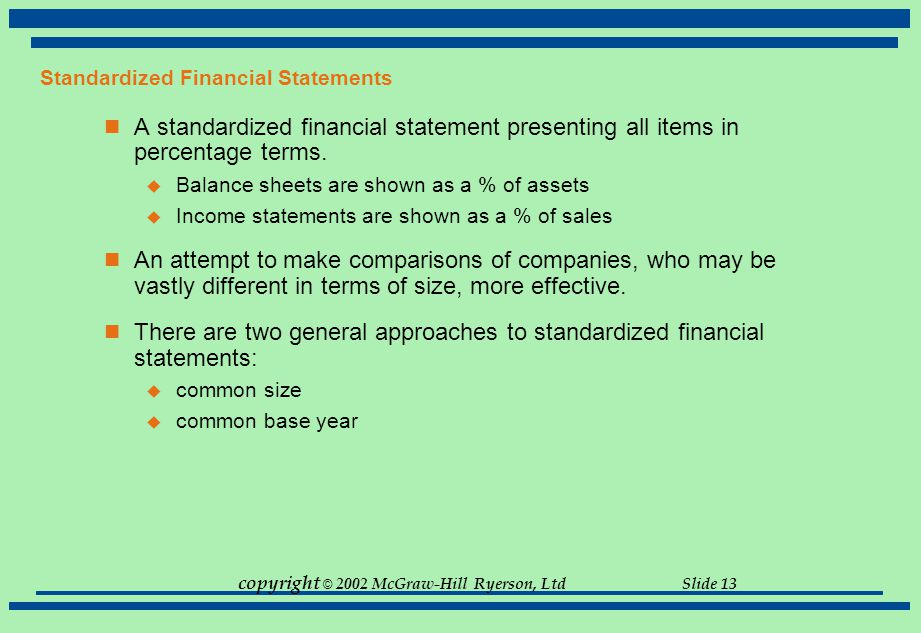 copyright © 2002 McGraw-Hill Ryerson, Ltd Slide 13 Standardized Financial Statements A standardized financial statement presenting all items in percen