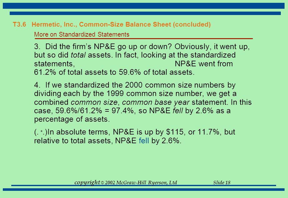 copyright © 2002 McGraw-Hill Ryerson, Ltd Slide 18 More on Standardized Statements 3.Did the firm's NP&E go up or down? Obviously, it went up, but so