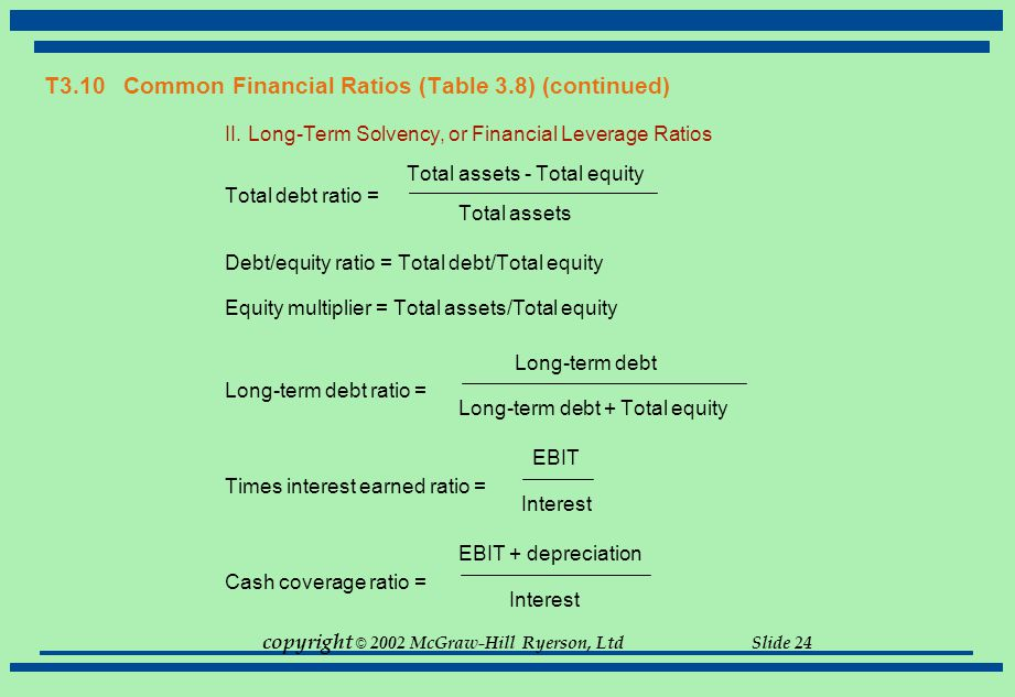 copyright © 2002 McGraw-Hill Ryerson, Ltd Slide 24 T3.10 Common Financial Ratios (Table 3.8) (continued) II. Long-Term Solvency, or Financial Leverage