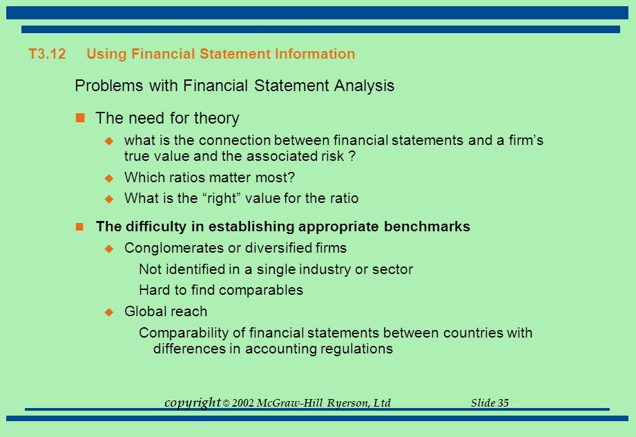 copyright © 2002 McGraw-Hill Ryerson, Ltd Slide 35 T3.12Using Financial Statement Information Problems with Financial Statement Analysis The need for
