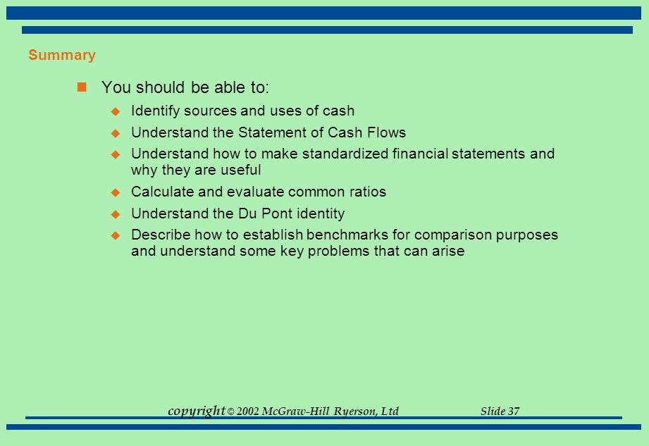 copyright © 2002 McGraw-Hill Ryerson, Ltd Slide 37 Summary You should be able to:  Identify sources and uses of cash  Understand the Statement of Ca