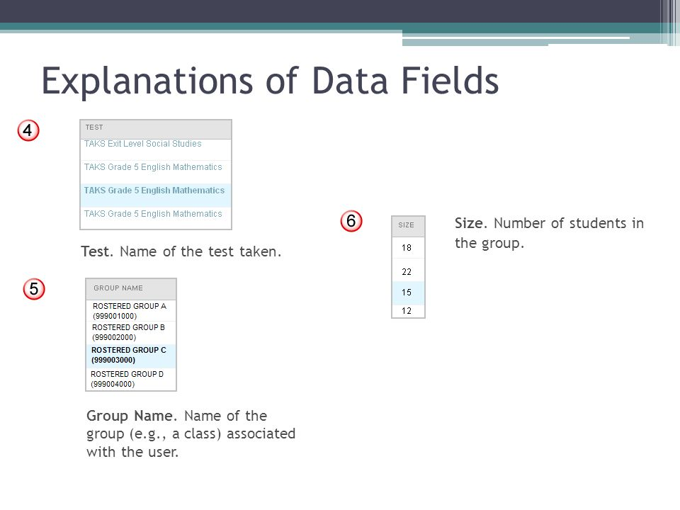 Explanations of Data Fields Test. Name of the test taken. Group Name. Name of the group (e.g., a class) associated with the user. Size. Number of stud