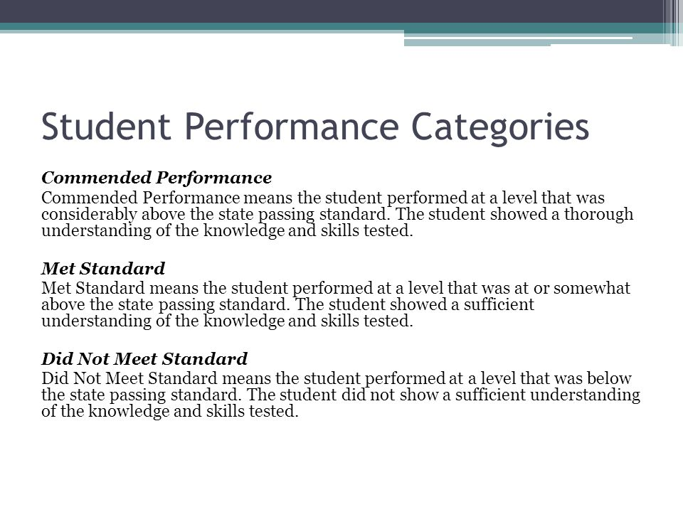 Student Performance Categories Commended Performance Commended Performance means the student performed at a level that was considerably above the state passing standard.