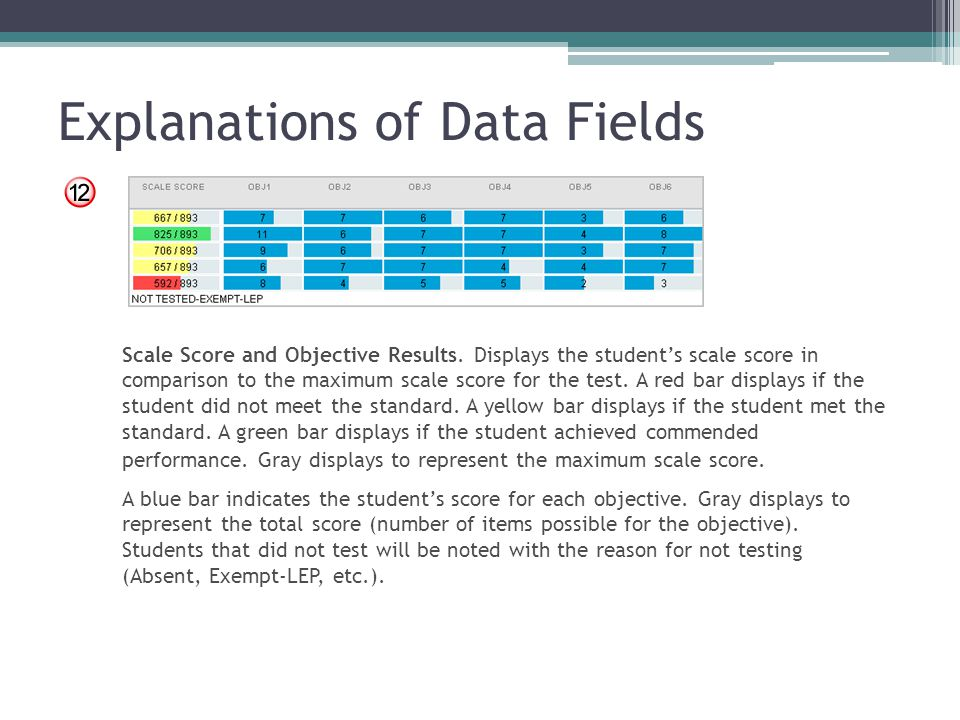 Explanations of Data Fields Scale Score and Objective Results. Displays the student's scale score in comparison to the maximum scale score for the tes