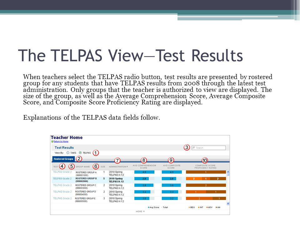 The TELPAS View—Test Results When teachers select the TELPAS radio button, test results are presented by rostered group for any students that have TELPAS results from 2008 through the latest test administration.
