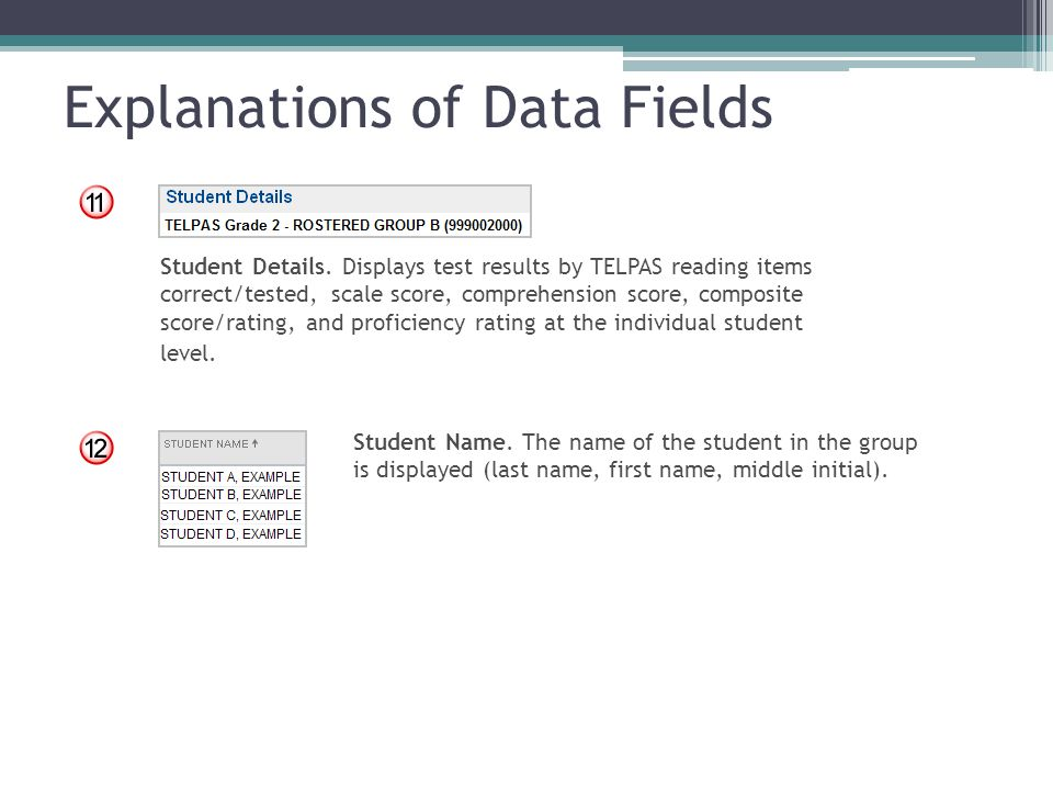Explanations of Data Fields Student Details. Displays test results by TELPAS reading items correct/tested, scale score, comprehension score, composite