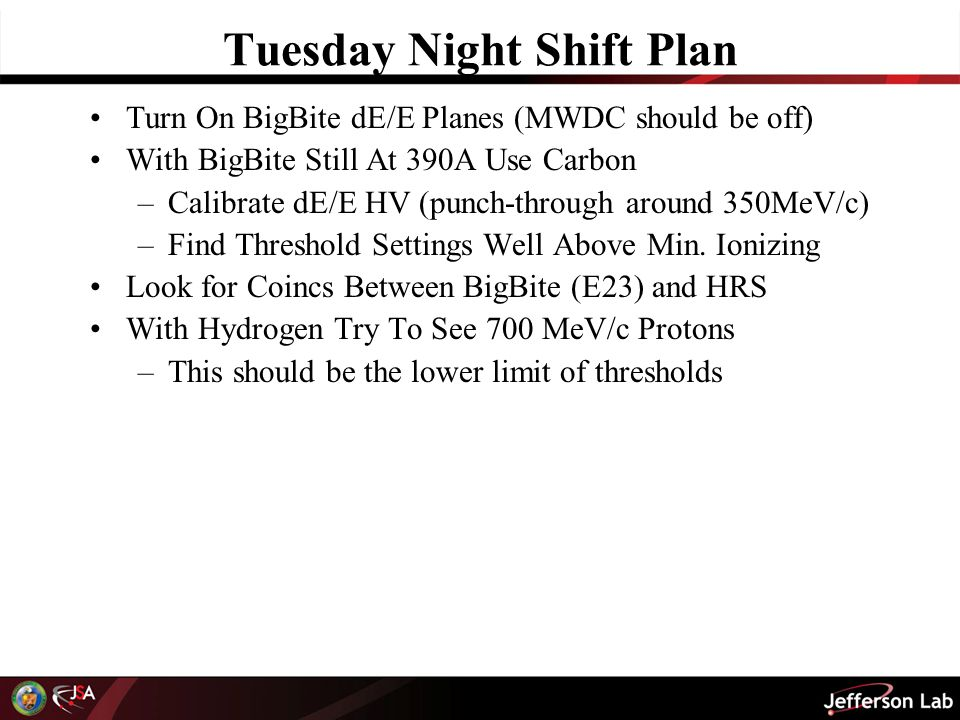 Tuesday Night Shift Plan Turn On BigBite dE/E Planes (MWDC should be off) With BigBite Still At 390A Use Carbon –Calibrate dE/E HV (punch-through around 350MeV/c) –Find Threshold Settings Well Above Min.