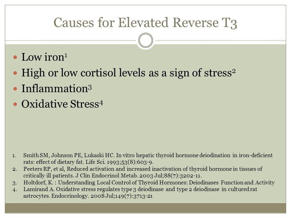 Causes for Elevated Reverse T3 Low iron 1 High or low cortisol levels as a sign of stress 2 Inflammation 3 Oxidative Stress 4 1.Smith SM, Johnson PE,