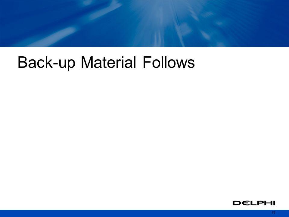19 Back-up Material Follows