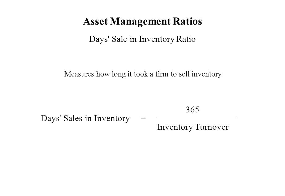Asset Management Ratios Days' Sale in Inventory Ratio Measures how long it took a firm to sell inventory Days' Sales in Inventory = 365 Inventory Turn