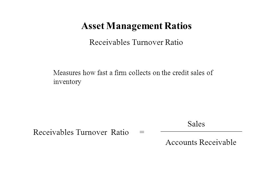 Asset Management Ratios Receivables Turnover Ratio Measures how fast a firm collects on the credit sales of inventory Receivables Turnover Ratio = Sal