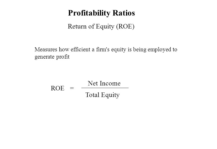 Profitability Ratios Return of Equity (ROE) Measures how efficient a firm's equity is being employed to generate profit ROE = Net Income Total Equity