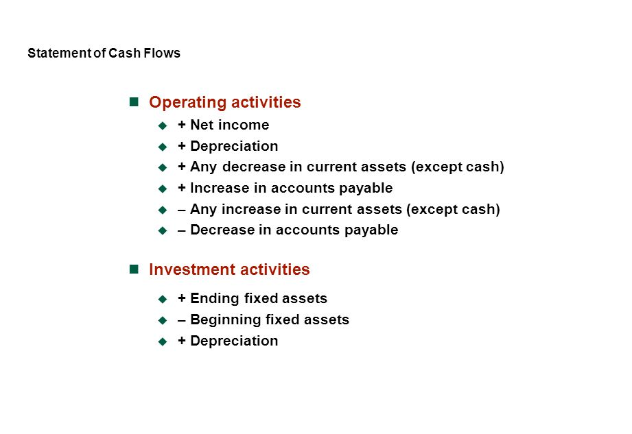 Statement of Cash Flows Operating activities  + Net income  + Depreciation  + Any decrease in current assets (except cash)  + Increase in accounts