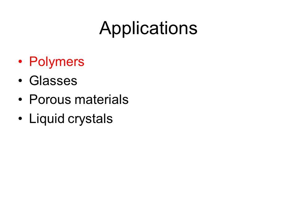 Applications Polymers Glasses Porous materials Liquid crystals