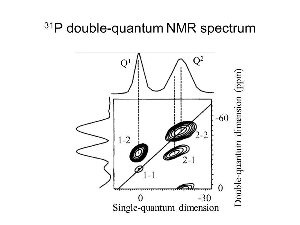 31 P double-quantum NMR spectrum Double-quantum dimension (ppm) 0 -60 0-30 Single-quantum dimension 1-1 1-2 2-1 2-2 Q1Q1 Q2Q2
