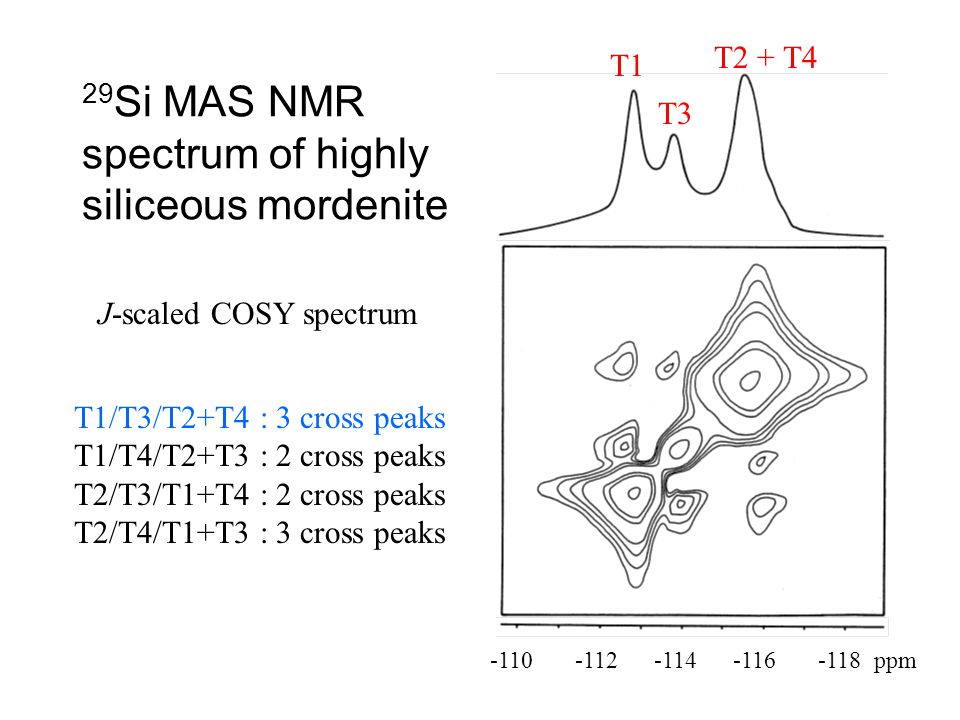 29 Si MAS NMR spectrum of highly siliceous mordenite J-scaled COSY spectrum -110 -112 -114 -116 -118 ppm T1 T3 T2 + T4 T1/T3/T2+T4 : 3 cross peaks T1/
