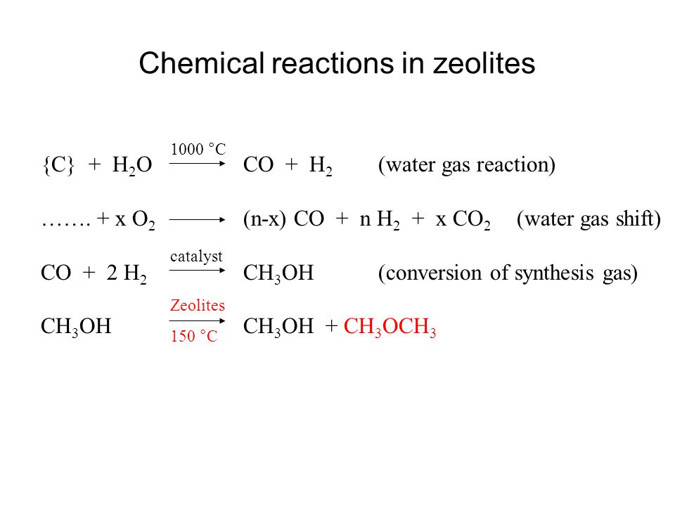Chemical reactions in zeolites {C} + H 2 OCO + H 2 (water gas reaction) ……. + x O 2 (n-x) CO + n H 2 + x CO 2 (water gas shift) CO + 2 H 2 CH 3 OH(con