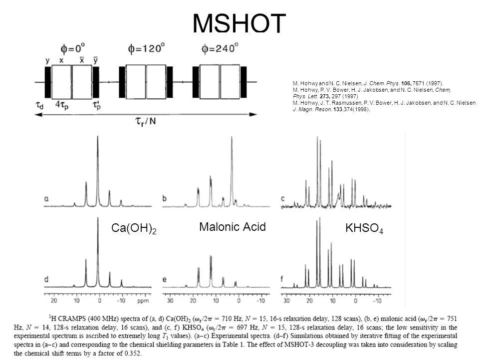 MSHOT Malonic Acid M. Hohwy and N. C. Nielsen, J. Chem. Phys. 106, 7571 (1997). M. Hohwy, P. V. Bower, H. J. Jakobsen, and N. C. Nielsen, Chem, Phys.