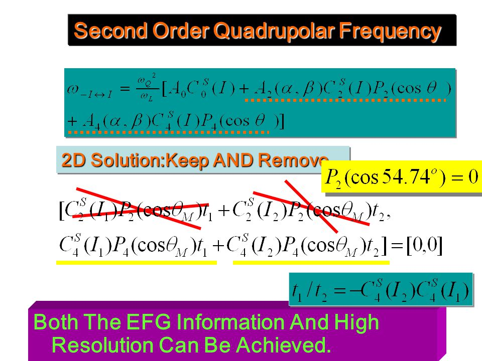 Both The EFG Information And High Resolution Can Be Achieved. Second Order Quadrupolar Frequency 2D Solution:Keep AND Remove