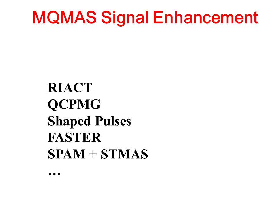 MQMAS Signal Enhancement RIACT QCPMG Shaped Pulses FASTER SPAM + STMAS …
