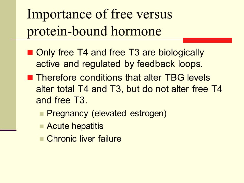 Importance of free versus protein-bound hormone Only free T4 and free T3 are biologically active and regulated by feedback loops.