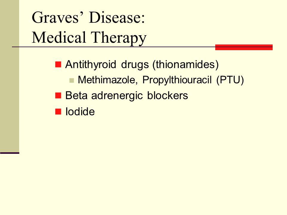 Graves' Disease: Medical Therapy Antithyroid drugs (thionamides) Methimazole, Propylthiouracil (PTU) Beta adrenergic blockers Iodide