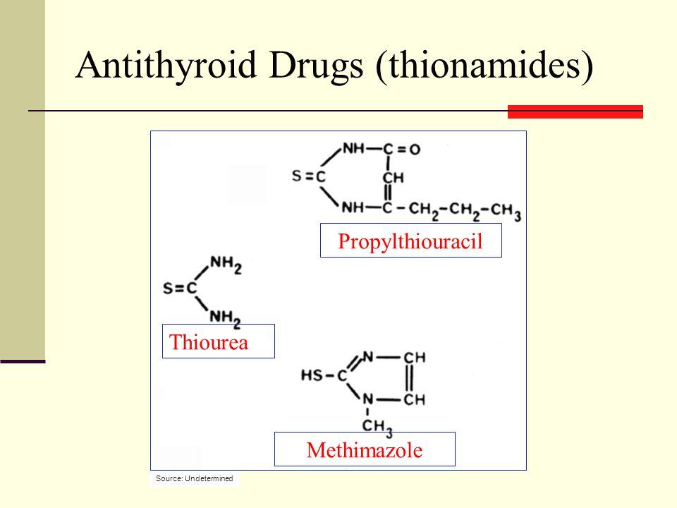 Antithyroid Drugs (thionamides) Propylthiouracil Methimazole Thiourea Source: Undetermined