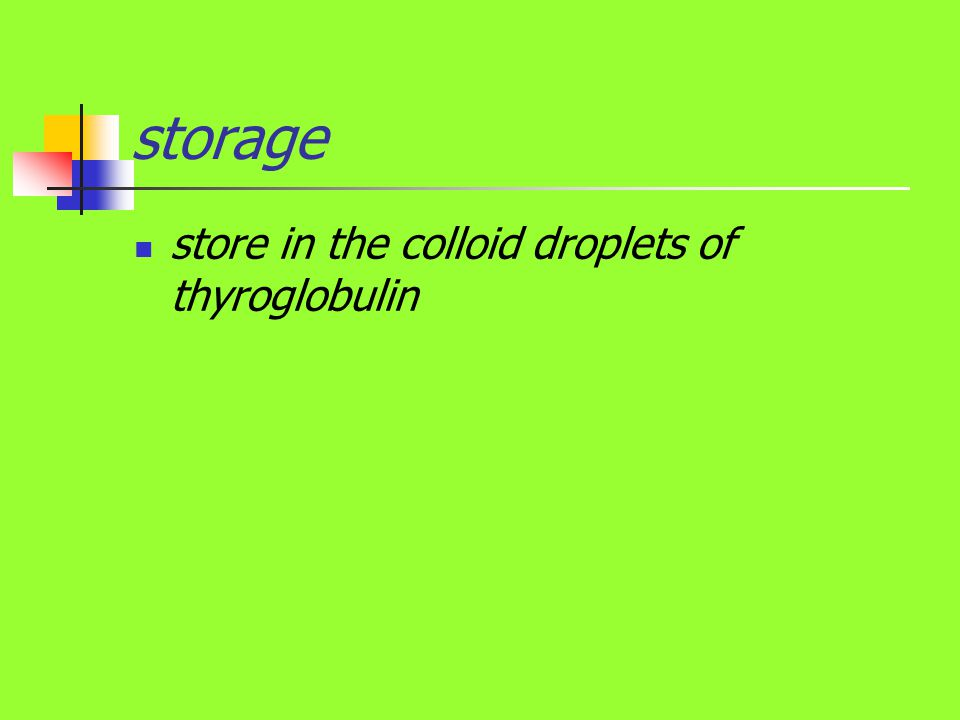 storage store in the colloid droplets of thyroglobulin