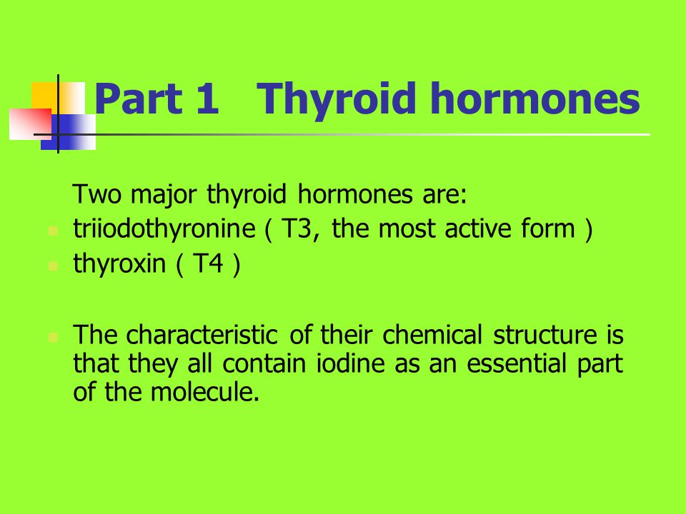 four categories of anti-thyroid drugs Ⅰ Thioureas : ( 硫脲类 ) interfere directly with the synthesis of thyroid hormones Ⅱ High concentrations of iodine : decrease the release of thyroid hormones Ⅲ Radioactive iodine : damage the gland with ionizing radiation Ⅳ β- receptor antagonists: control the manifestations