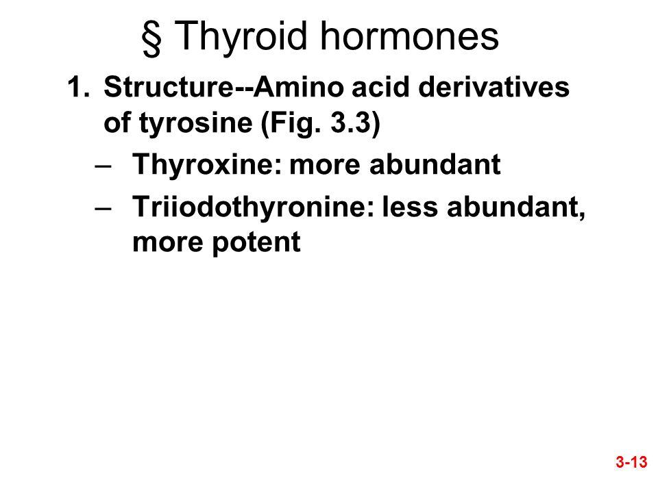 § Thyroid hormones 1.Structure--Amino acid derivatives of tyrosine (Fig. 3.3) –Thyroxine: more abundant –Triiodothyronine: less abundant, more potent