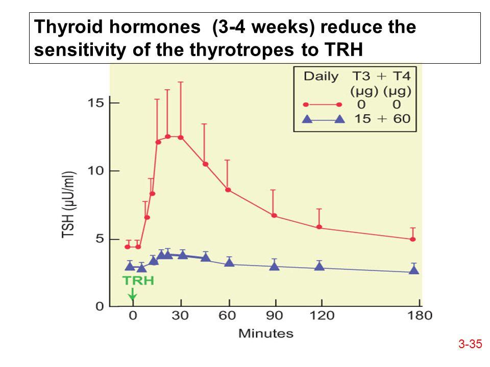 Thyroid hormones (3-4 weeks) reduce the sensitivity of the thyrotropes to TRH 3-35