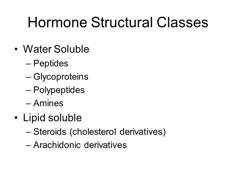 Hormone Structural Classes Water Soluble –Peptides –Glycoproteins –Polypeptides –Amines Lipid soluble –Steroids (cholesterol derivatives) –Arachidonic derivatives