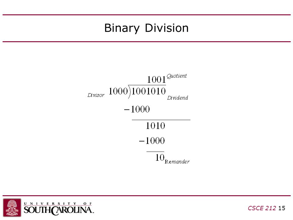 CSCE 212 15 Binary Division