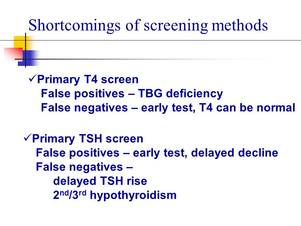 Shortcomings of screening methods Primary T4 screen False positives – TBG deficiency False negatives – early test, T4 can be normal Primary TSH screen False positives – early test, delayed decline False negatives – delayed TSH rise 2 nd /3 rd hypothyroidism
