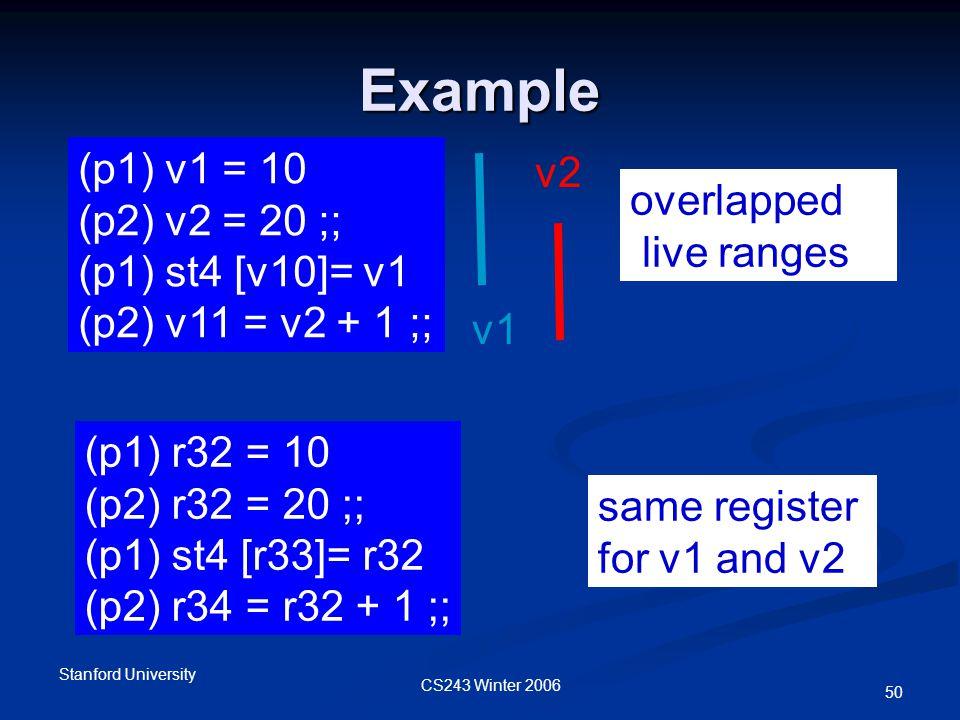 CS243 Winter 2006 Stanford University 50 Example (p1) r32 = 10 (p2) r32 = 20 ;; (p1) st4 [r33]= r32 (p2) r34 = r32 + 1 ;; (p1) v1 = 10 (p2) v2 = 20 ;; (p1) st4 [v10]= v1 (p2) v11 = v2 + 1 ;; v1 v2 overlapped live ranges same register for v1 and v2