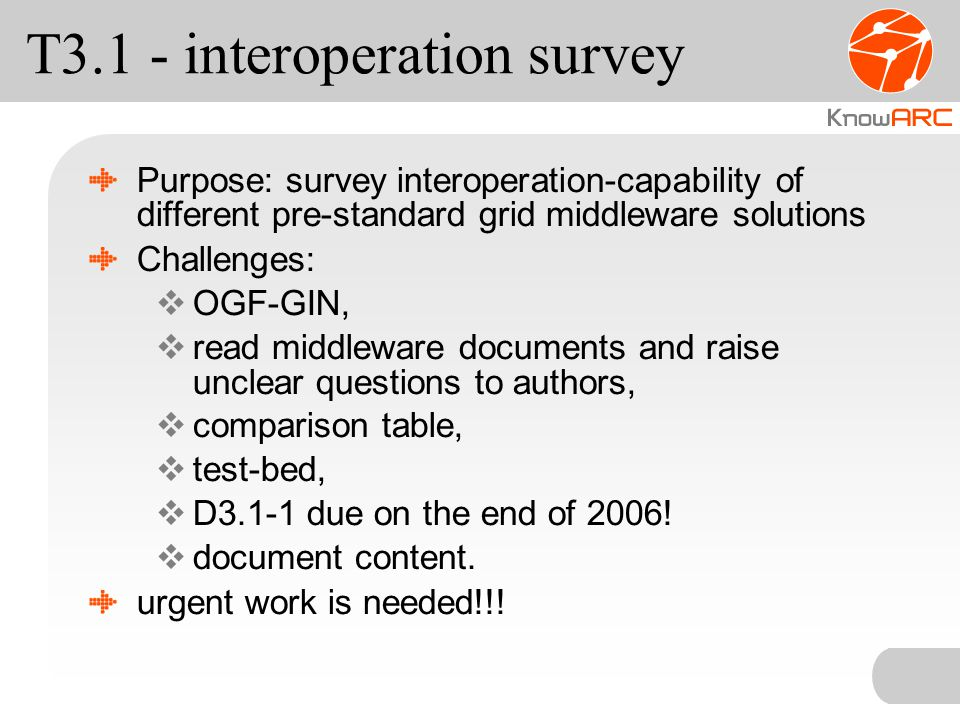 T3.1 - interoperation survey Purpose: survey interoperation-capability of different pre-standard grid middleware solutions Challenges:  OGF-GIN,  read middleware documents and raise unclear questions to authors,  comparison table,  test-bed,  D3.1-1 due on the end of 2006.