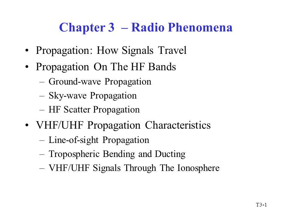 T3-1 Chapter 3 – Radio Phenomena Propagation: How Signals Travel Propagation On The HF Bands –Ground-wave Propagation –Sky-wave Propagation –HF Scatte