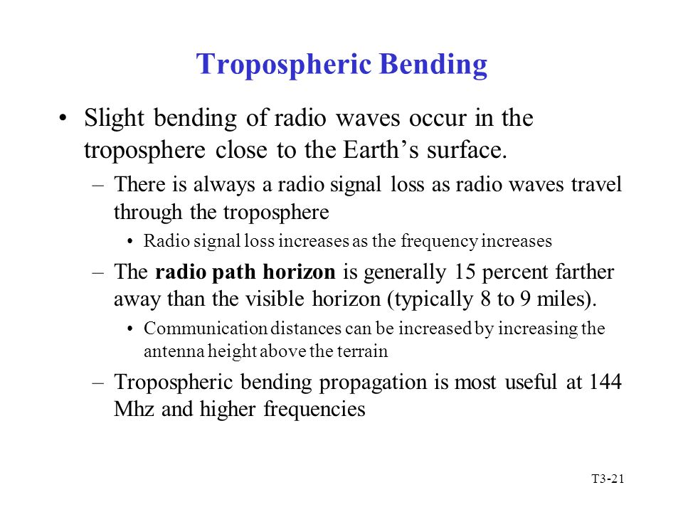 T3-21 Tropospheric Bending Slight bending of radio waves occur in the troposphere close to the Earth's surface. –There is always a radio signal loss a