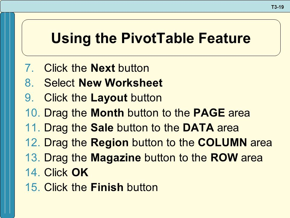 T3-19 Using the PivotTable Feature 7.Click the Next button 8.Select New Worksheet 9.Click the Layout button 10.Drag the Month button to the PAGE area 11.Drag the Sale button to the DATA area 12.Drag the Region button to the COLUMN area 13.Drag the Magazine button to the ROW area 14.Click OK 15.Click the Finish button