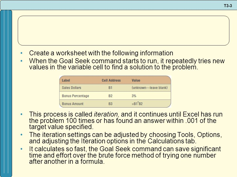 T3-3 Create a worksheet with the following information When the Goal Seek command starts to run, it repeatedly tries new values in the variable cell to find a solution to the problem.