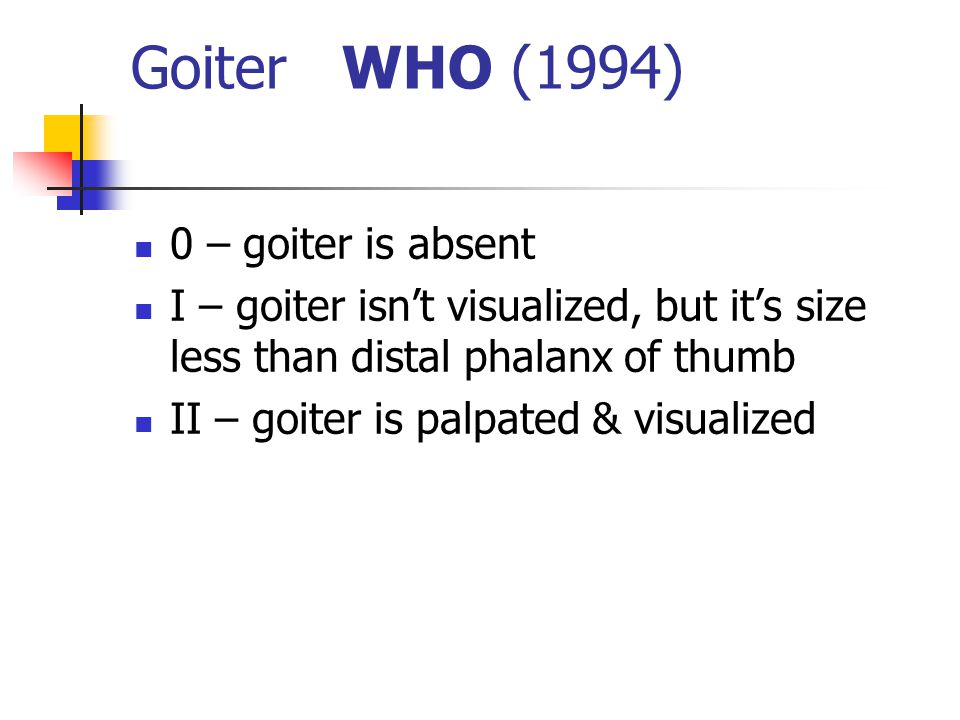 Goiter WHO (1994) 0 – goiter is absent I – goiter isn't visualized, but it's size less than distal phalanx of thumb II – goiter is palpated & visualized