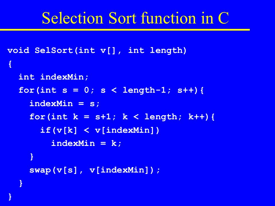 Selection Sort in Assembly Code Do we make a subsidiary function call.