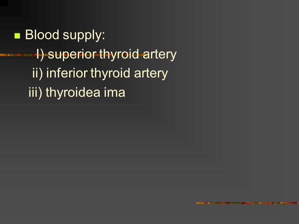 Blood supply: I) superior thyroid artery ii) inferior thyroid artery iii) thyroidea ima