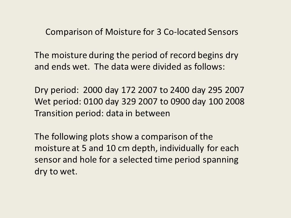 Comparison of Moisture for 3 Co-located Sensors The moisture during the period of record begins dry and ends wet. The data were divided as follows: Dr